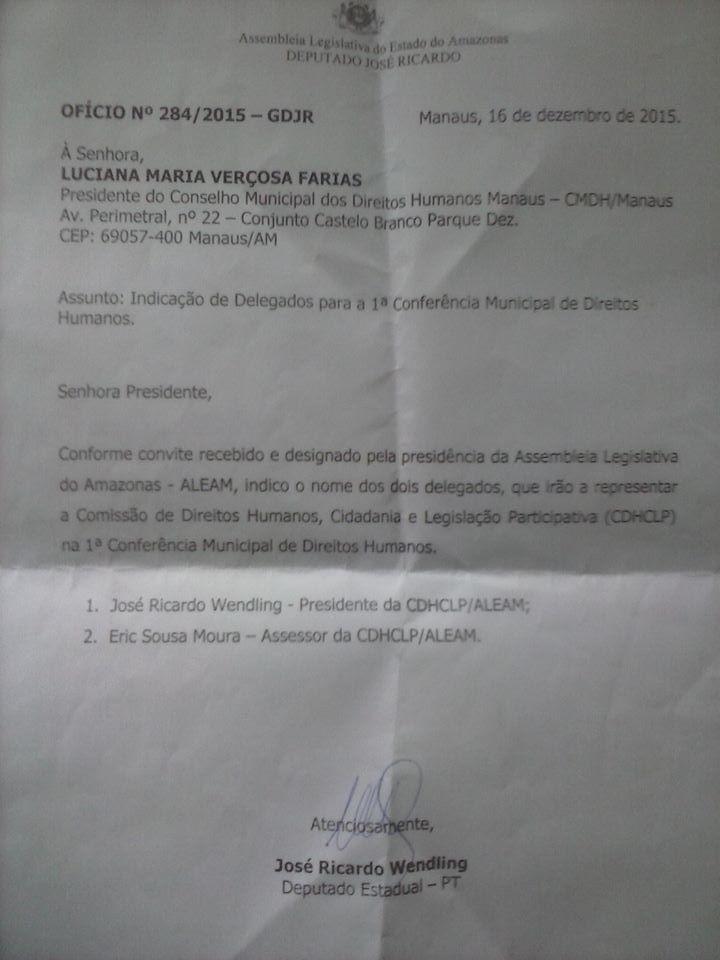 Ofício do dep. estadual José Ricardo (PT) indicando-se para vagas reservadas a vereadores.