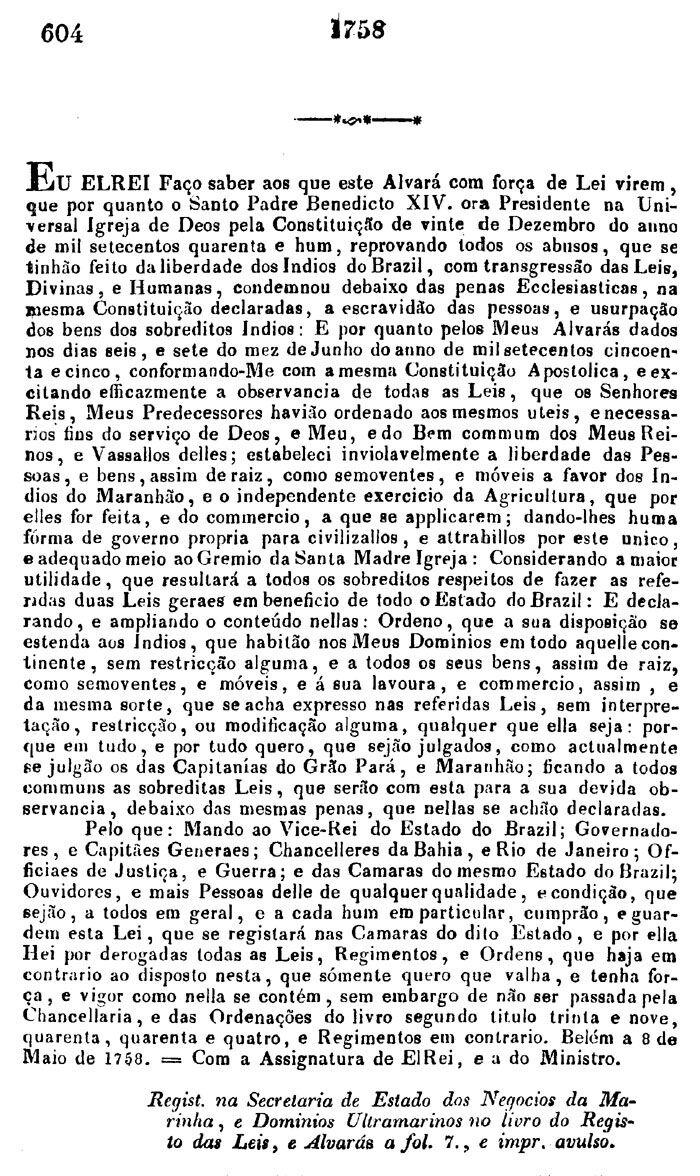Alvara de 8 de maio de 1758
