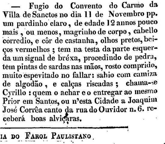 Publicado no jornal O Farol Paulistano, da capital paulista, no número 282, de 12 de dezembro de 1829, página 4 (acervo Memória Biblioteca Nacional Digital).