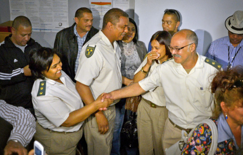 From left to right in uniform, Geo-Nita Baartman, Christopher February, Teresa Abrahams and Derik Wehr of the Department of Correctional Services celebrate after winning their case against unfair discrimination at the Labour Court in Cape Town. File picture: Armand Hough/Independent Media